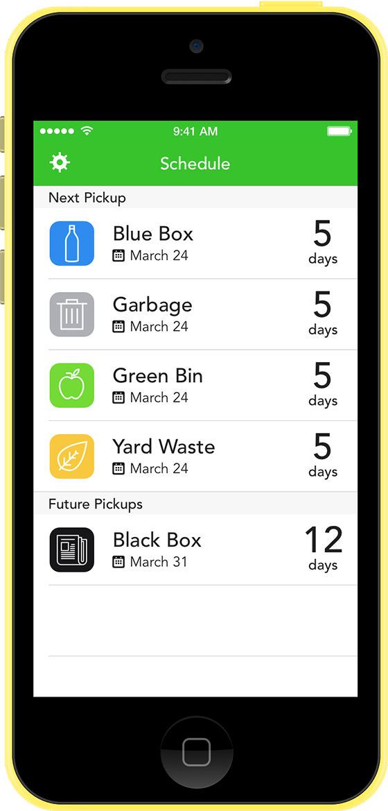 Screenshot of Garbage and Recycling Schedule